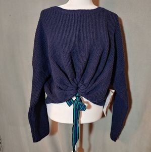 Crave Fame by Almost Famous Ribbon Crop Sweater